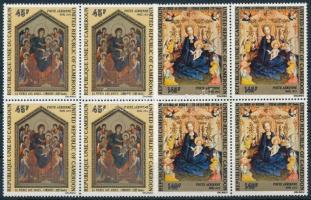Christmas: Paintings set blocks of 4, Karácsony: Festmények sor négyestömbökben