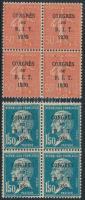 1930 Mi 249-250 négyestömbökben (Mi EUR 125,-)