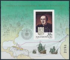 1991 Amerika felfedezésének 500. évfordulója vágott blokk (12.000)
