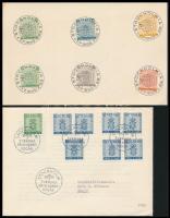 1955 2 db küldemény, az egyik FDC + hat db bélyeg első napi bélyegzéssel papírlapon
