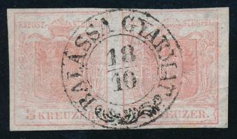 1850 3kr HP I a halványrózsaszín pár, selyempapír, látványosan kiemelt középrész, kis papírránc. Certificate: Steiner