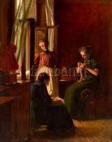 Komáromi-Kacz Endre (1880-1969): Generációk az ablaknál. Olaj, vászon, jelzett, apró festék hibákkal, keretben, 50×40 cm