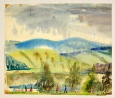 Antal Irén (1903-1999): Dunaparton, akvarell, papír, jelzett, 32,5×38 cm