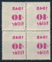1945 Kisegítő 40f/24f négyestömb gépszínátnyomattal (ráncok)