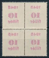 1945 Kisegítő 10f/12f négyestömb gépszínátnyomattal