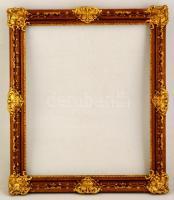 Dekoratív blondel fa képkeret, apró lepattanással, belső: 50,5×60,5 cm, külső: 61×73 cm