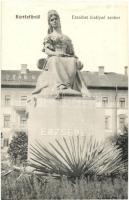Bártfafürdő, Bardejovské Kúpele, Bardiov; Erzsébet királyné szobor, Deák szálloda / Statue of Empress Elisabeth of Austria (Sisi), hotel