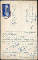1956 Pogány Ferenc ökölvívó bíró képeslapja Szófiából Bulgária Magyarország nemzetek közötti ökölvívó mérkőzésről feleségének, számos aláírással, közte Papp László (1926-2003) későbbi olimpiai bajnok, edző és Dőry András (1930-2013) olimpiai bajnok ötödik helyezett, edző aláírásaival.