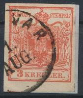 1850 3kr HP I cinnober, bal ívszéli nyomat, lemezhiba Hirsching 23 ,,(TEMES)VAR Certificate: Strakosch