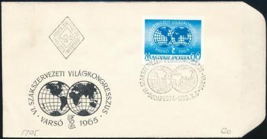 1965 Évfordulók - események (III.) - Varsói Szakszervezeti Világkongresszus vágott bélyeg FDC