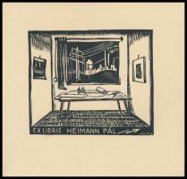 Vadász Endre (1901-1944): Mérnök ex libris (Heimann Pál), fameszet, papír, jelzett a dúcon. 6x7 cm