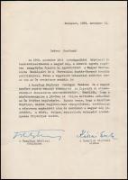 1958 Hazafias Népfront gépelt köszönő levele a választási sikerben való közreműködésben, Kállai Gyula (1910-1996) elnök, politikus, miniszter, későbbi miniszterelnök (1965-1967), Ortutay Gyula (1910-1978) főtitkár, politikus, néprajzkutató aláírásaival.