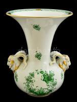 Herendi indiai kosár mintás váza kos fejekkel, kézzel festett, jelzett, kopott, m:26 cm