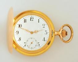 14K arany, mechanikus zsebóra, hibátlan számlappal, működő, szép állapotban br 93 g / Gold pocket watch