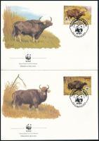 WWF buffalo set on 4 FDC, WWF: Bivaly sor  4 FDC