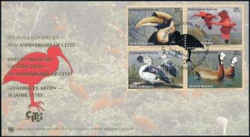 2003 WWF: Veszélyeztetett fajok, madarak sor négyestömb FDC, WWF: Endangered species, birds set blocks of 4 Mi 925-928