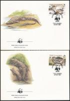 1984 WWF: Nílusi krokodil sor 4 FDC-n, WWF: Nile crocodile set on 4 FDC Mi 517-520