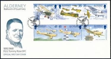 airplanes set in stripe of 3 FDC, Repülők sor hármascsíkokban FDC