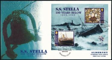 """""""Stella"""" steamboat UPU block FDC, """"Stella"""" gőzhajó, UPU blokk FDC"""