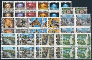 1980 Forgalmi sor négyestömbökben, Definitive set in blocks of 4 Mi 227-241