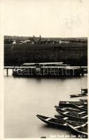 Ruszt, Rust; Bad Rust am Neusiedler See / Ruszti strandfürdő a Fertő-tónál, csónak kikötő, motorcsónak / boat harbor, motor boat, beach