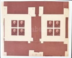 1942 Vöröskereszt II. 2-2 vágott kisívet tartalmazó 3 klf. ív. Ebben a formában csak néhány ívsor létezik!! / Mi 696-698 3 sheets, each including 2 imperforate mini sheets. Only a few sheet sets exist in this form!!