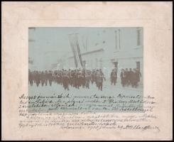 1905 Kolozsvár, Hazádnak rendületlenül - a választás alkalmából készült fotó, feliratozva, kartonra kasírozva, 7,5×10,5 cm