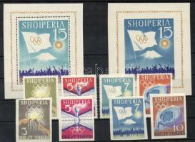 1964 Tokioi olimpia fogazott + vágott sor + blokk / perforated + imperforated set + block Mi 823-826 + 828-831 + blokk 22-23