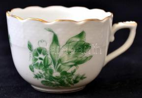 Herendi virágmintás kávéscsésze, kézzel festett, jelzett,apró kopásokkal, d: 6,5 cm