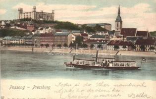 1902 Pressburg, Bratislava; castle, steamship, 1902 Pozsony, Pressburg, Bratislava; vár, gőzhajó. Dr. Trenkler Co.