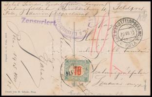 1915 Hadihajót ábrázoló képeslap ,,K.u.k. MARINEFELDPOSTAMT POLA bélyegzéssel, cenzúra bélyegzéssel
