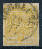 1850 1kr kadmium sárga HP III. nagy vízjellel DEBRECZIN Certificate: Steiner