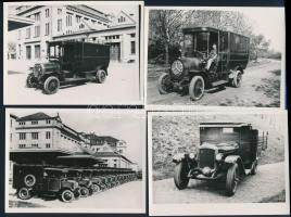 cca 1910-1920 Régi automobilok, 4 db utólagos előhívás, 12×9 cm