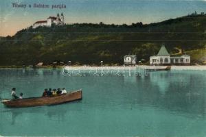 Tihany, Balaton part, az állami kikötő vásárcsarnoka, csónakázók
