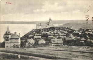 Tihany, látkép, apátsági templom és kolostor, villa. Kiadja Mérei Ignác Keszthelyen 620. sz. 1909. (felületi sérülés / surface damage)