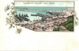 Genova, Genoa; Riccordo di Lato Ovest. Floral litho