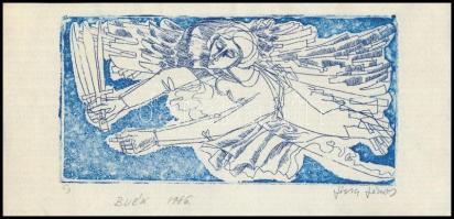 Józsa János (1936-2019): BÚÉK 1986. Linó, papír, Jelzett .8x15 cm,