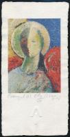 Aknay János (1949-) Őrangyal . Kőnyomat, papír. Jelzett. EA/II/VII 13 x 9 cm