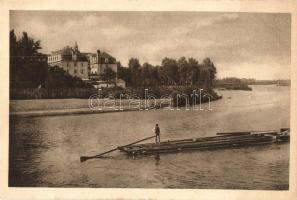 Pöstyén-fürdő, Bad Pistyan, Kúpele Piestany; Royal Nagyszálloda a Vág folyóval, faúsztatás / Grand Hotel, timber transport by rafting on Vah river