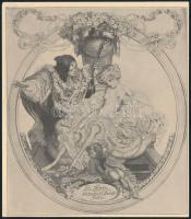 Franz von Bayros (1866-1924): Ex libris Francisi Chorin. Klisé, papír, jelzés nélkül, 10×9 cm