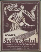 cca 1920 Ping-Pong játékot gyárt Seffer Antal. Globus Rt. Kolozsvári Kner. Villamos plakát. Kis szakadással / Table tennis tram poster. 19x24 cm