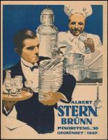 cca 1940 Albert Stern Brünn, étterem reklám plakát. Ofszet. / Restaurant poster. 22x28 cm