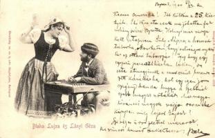 1900 Blaha Lujza és Lányi Géza. Dombornyomott / Stengel & Co. Reliefkarte Emb.