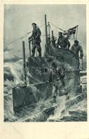 Auf dem Kommandoturm eines U-Bootes. Offizielle Postkarte U-Boot-Tag Juni 1917 / WWI German submarine s: Willy Stöwer