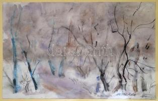 Antal Irén (1903-1999): Téli erdő, akvarell, papír, jelzett, 30×49 cm