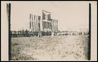 cca 1940 Náci ünnepi felvonulás fotója / Nazi feast march. Photo postcard 9x14 cm