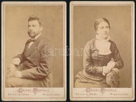 cca 1878 Szinay és Társa miskolci műtermében készült, 2 db kabinetfotó méretű portré, 17x11 cm
