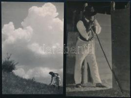 cca 1938 Dulovits Jenő (1903-1972) budapesti fotóművész hagyatékából 2 db pecséttel jelzett vintage fotó, 10,8x7,5 cm és 11,2x7,5 cm