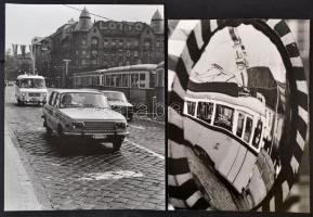 Villamosok, 3 db fotóművészeti alkotás, különböző időpontokban készültek, kettő Budapesten, 25x28 cm és 39x29 cm között