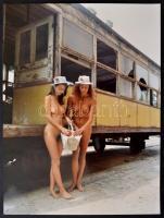 cca 1992 Kirándulás a Sváb-hegyre, Menesdorfer Lajos (1941-2005) budapesti fotóművész hagyatékából, feliratozott, vintage fotóművészeti alkotás, 40x30 cm